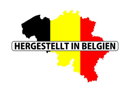 made in belgium: made in belgium country national flag map shape with text