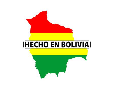 mapa de bolivia: realizado en el país Bolivia bandera nacional la forma del mapa con el texto Foto de archivo
