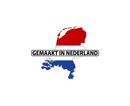 made in netherlands: made in netherlands country national flag map shape with text Stock Photo