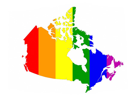 canada country: canada country gay pride flag map shape Stock Photo