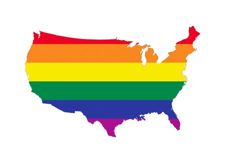 gay pride flag: usa country gay pride flag map shape Stock Photo