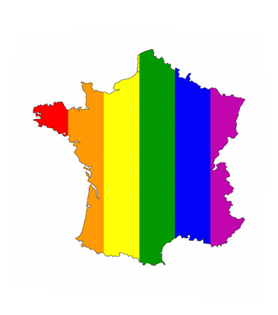 gay pride flag: france country gay pride flag map shape