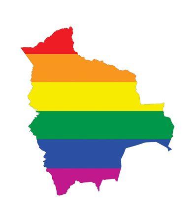 gay pride flag: bolivia country gay pride flag map shape