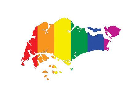 gay pride flag: singapore country gay pride flag map shape
