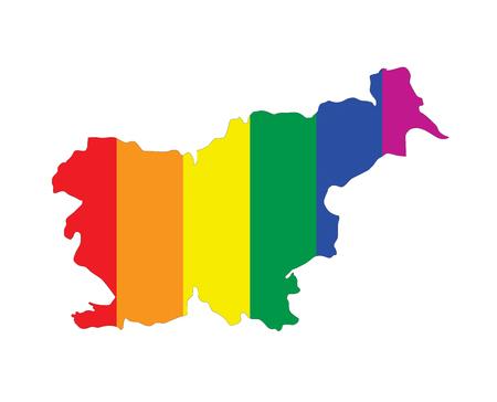 gay pride flag: slovenia country gay pride flag map shape