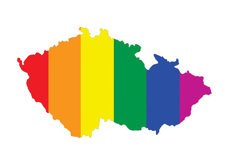 gay pride flag: czech republic country gay pride flag map shape