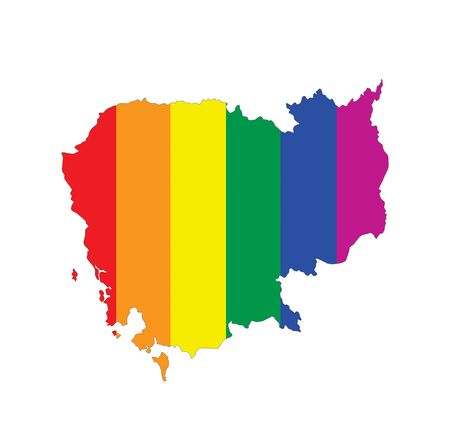 gay pride flag: cambodia country gay pride flag map shape Stock Photo