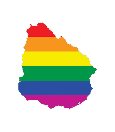 uruguay: uruguay country gay pride flag map shape Stock Photo