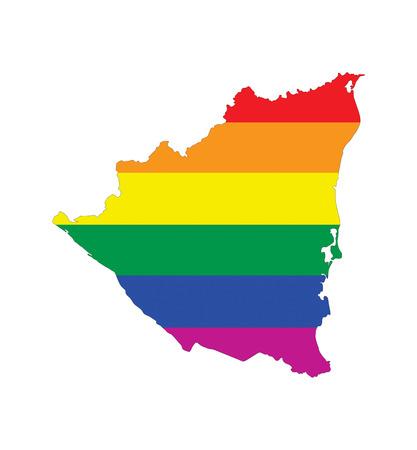 gay pride flag: nicaragua country gay pride flag map shape Stock Photo