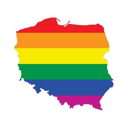 gay pride flag: poland country gay pride flag map shape Stock Photo