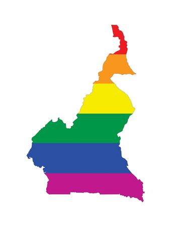 gay pride flag: cameroon country gay pride flag map shape