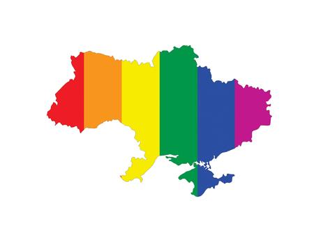 gay pride flag: ukraine country gay pride flag map shape
