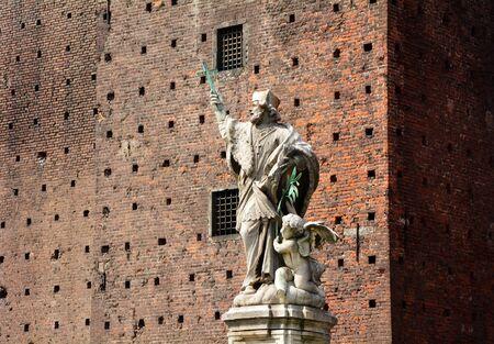 sforza: Milan city Italy Sforza Castle statue landmark architecture Stock Photo