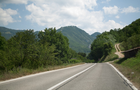 serbia landscape: serbia country road trip and mountain forest landscape