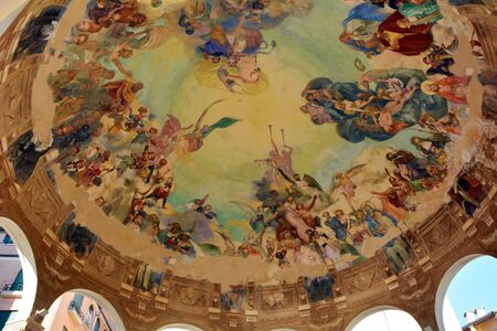 frescoed: PORTOFINO, ITALY - 1.4.2015: frescoed ceiling of a gazebo along the shore