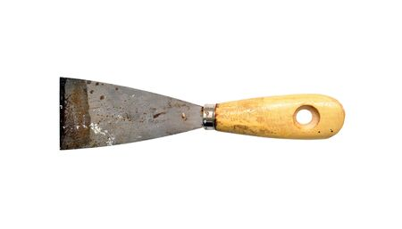 scrapers: Old rust paint trowel with wood handle isolated