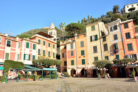 editorial: PORTOFINO, ITALY - 1.4.2015: architecture and people general view editorial