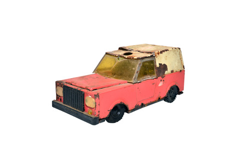 old truck: old truck communist era retro toy over white background Stock Photo