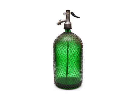 recipient: green glass vintage soda dispenser isolated over white Stock Photo