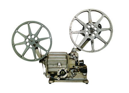 vintage old film projector isolated over white