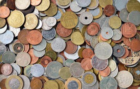 international money: international coins texture metal money pattern background