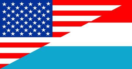 Amerika van de VS luxemburg de vlag van de halve landtaal