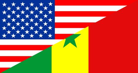 senegal: usa america senegal half country language flag