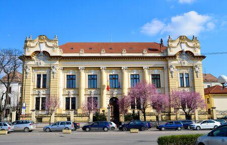 editorial: TIMISOARA, ROMANIA - 03.17.2016: Romanian National Bank palace landmark architecture editorial