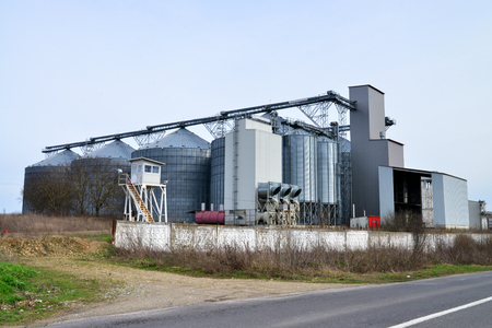 silo: metal modern cereals mill and silo romanian factory Stock Photo