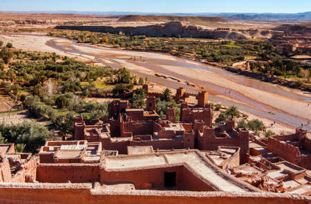 casbah: Ait Benhaddou Kasbah Morocco Look from fortified City