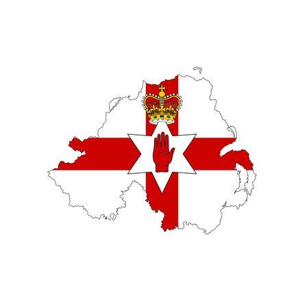 ireland flag: northern ireland country flag map shape illustration Stock Photo