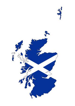 scotland uk country flag map shape illustration Stock Photo