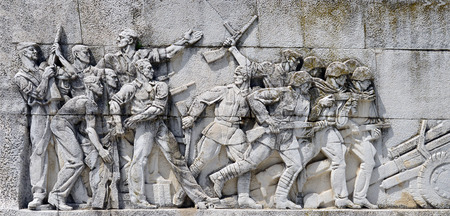 fresco: Timisoara city Romania central park Monument of the Romanian Soldier fresco Stock Photo