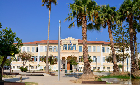 rethymno: RETHYMNO, GREECE - 08.03.2016: Prefecture Building on Iroon Polytechniou Square Editorial