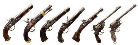 musket: seven old guns collection over white background