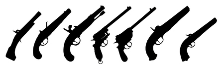 gat: seven old guns silhouette collection over white background