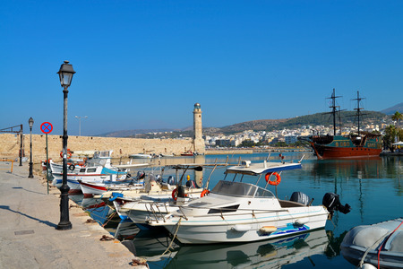 rethymno: Rethymno city Greece light house and old marina landmark architecture Stock Photo