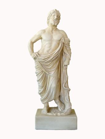 aesculapius: Mármol dios griego de la medicina estatuilla de Asklepios aislado más de blanco Foto de archivo