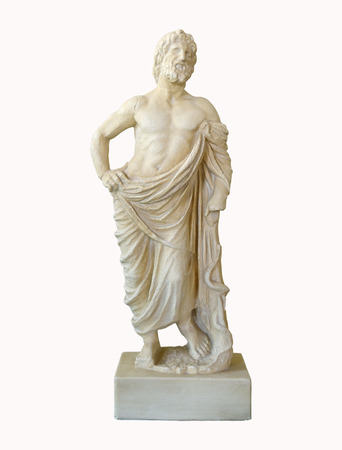 Marble greek god of medicine statuette of Asklepios isolated over white
