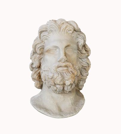 aesculapius: Mármol dios griego de la medicina estatuilla de la cabeza de Asklepios aislado más de blanco