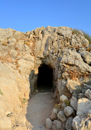 fortezza: Rethymno city Greece Fortezza fortress landmark cave Editorial