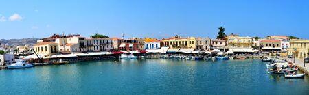 rethymno: RETHYMNO, GREECE - 08.03.2016: Rethymnon city Crete Greece Venetian harbour panorama view