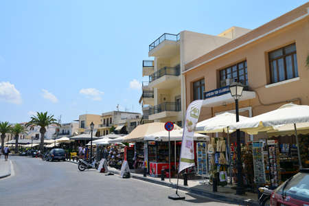 rethymno: RETHYMNO, GREECE - 08.04.2016: city street with people editorial