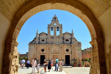 rethymno: ARKADI, GREECE - 08.08.2016: Greek Monastery church landmark architecture
