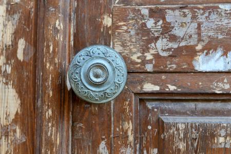 old metal: old wood door metal handle close detail