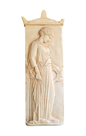 stele: ancient greek grave stele with a girl holding a dove