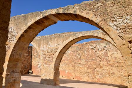 rethymno: Rethymno city Greece Fortezza fortress arcade landmark architecture Editorial