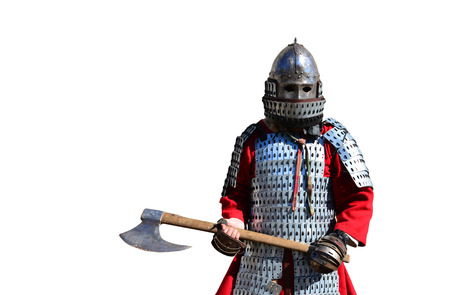medieval metal armor and helmet warrior isolated over white Stock Photo