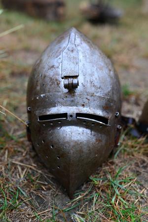 head protection: medieval metal helmet props warrior head protection