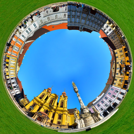 timisoara city romania roman catholic dome landmark architecture panorama